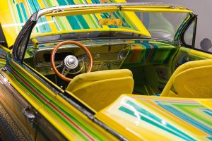 striped colourful vehicle